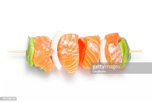 kebab de salmão Cru