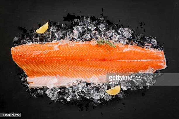 raw salmon steak - fillet stock pictures, royalty-free photos & images