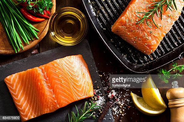 raw salmon steak - raw food stock pictures, royalty-free photos & images