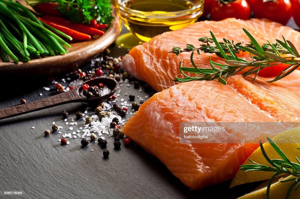 Raw salmon steak : Stock Photo