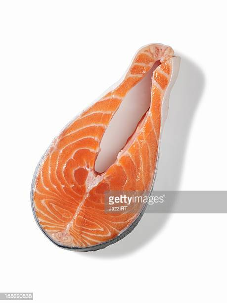 Raw salmon steaks (isolated with clipping path over white background)