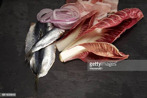Raw sardine, radicchio, bacon and onion rings