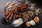 Raw Seafood - King Crab, Prawn Shrimp, Clams, Scallops, Octopus, Squid, Mullet fish