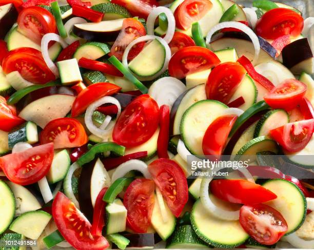 raw sliced vegetables for a ratatouille - raw food diet stock pictures, royalty-free photos & images