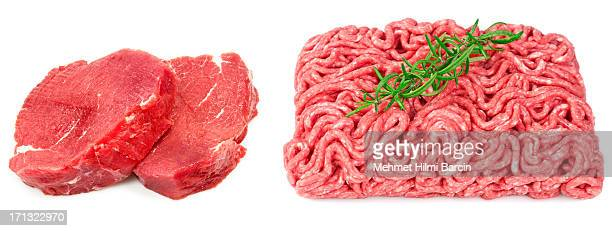 Raw steak and ground beef