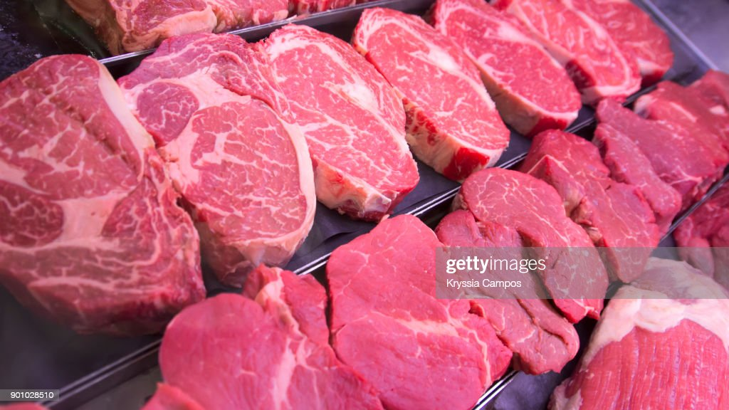 Raw Steaks on Tray : Stock Photo