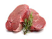 Raw Steaks on white background