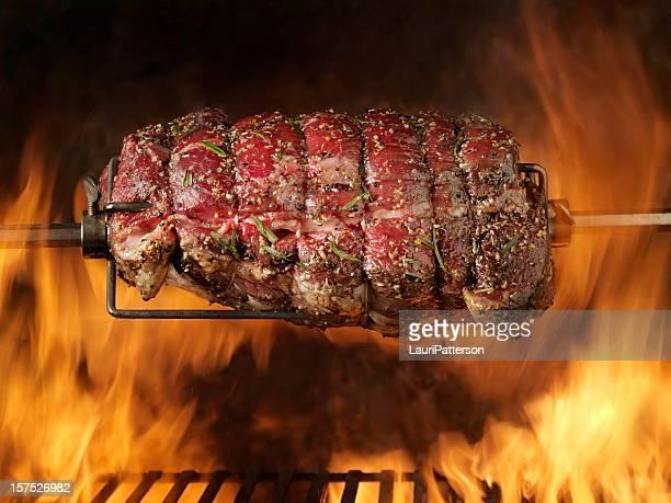 Raw Top Sirloin Beef Roast on the BBQ
