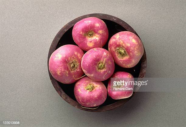 raw turnips in a bowl - turnip stock pictures, royalty-free photos & images