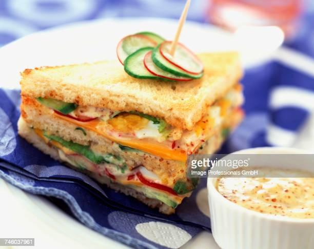 Raw vegetable club sandwich with mustard
