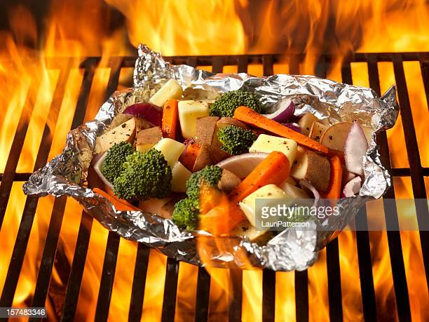 raw vegetables on the bbq - margarine stock pictures, royalty-free photos & images
