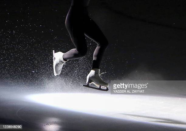 Rawa al-Qertas of Kuwait performs during the Kuwait Winter Games club figure skating competition in Kuwait City on September 16, 2020.