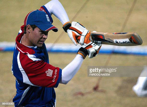 England cricketer Geraint Jones plays a shot during a practice session at the Pindi Cricket Stadium in Rawalpindi 18 December 2005 Pakistani cricket...