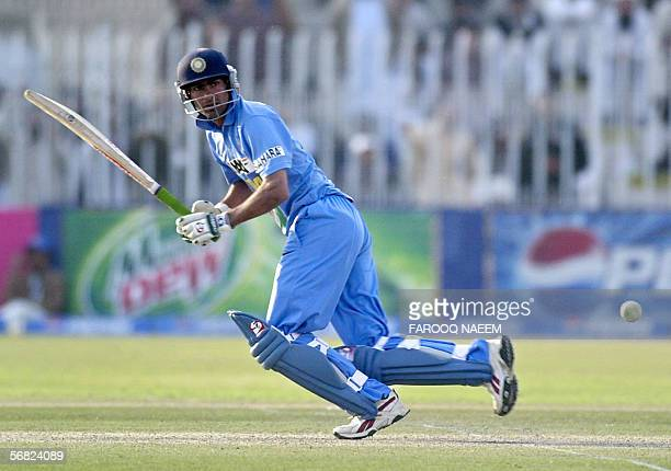 Indian cricketer Mohammad Kaif plays a shot during the second One Day International match between Pakistan and India at The Pindi Cricket Stadium in...