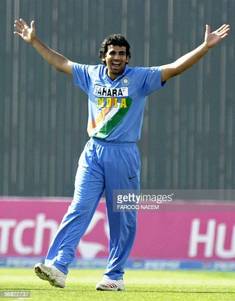 Indian cricketer Zaheer Khan gestures as he celebrates the dismissal of Pakistan captain Inzamamul Haq during the second One Day International match...