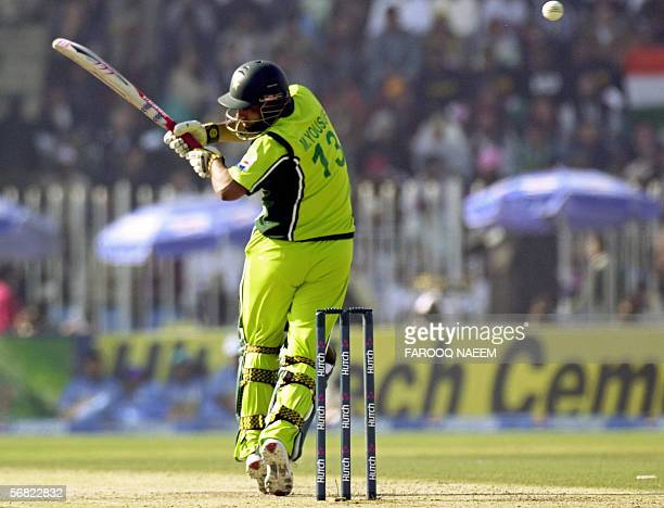 Pakistani cricketer Mohammad Yousuf avoids a bouncer during the second One Day International match between Pakistan and India at The Pindi Cricket...
