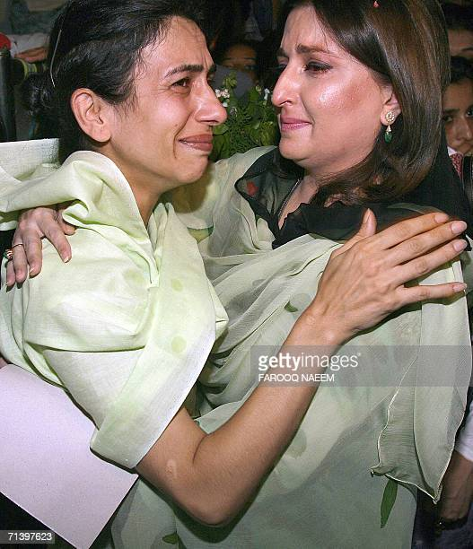Pakistani Minister for women's development Sumera Malik embraces Uzbek female prisoner Fatma arrested in drug case during her visit to the Adiala...