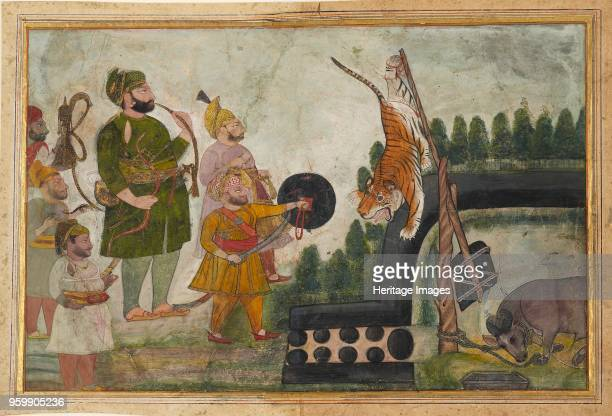 Rawat Gokul Das inspects a trapped tiger 18101815 Dimensions height x width mount 557 x 404 cmheight x width page 305 x 45 cmheight x width painting...