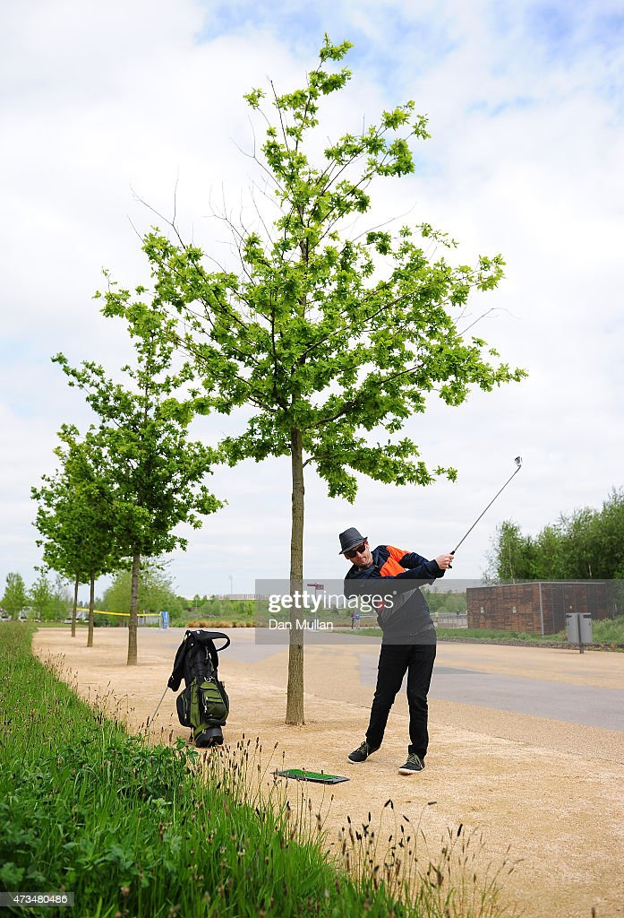 Rawden Pettitt of Shoreditch Golf Club hits his second shot on the 8th hole during the UK Cross Golf Open at Queen Elizabeth Olympic Park on May 15, 2015 in London, England.