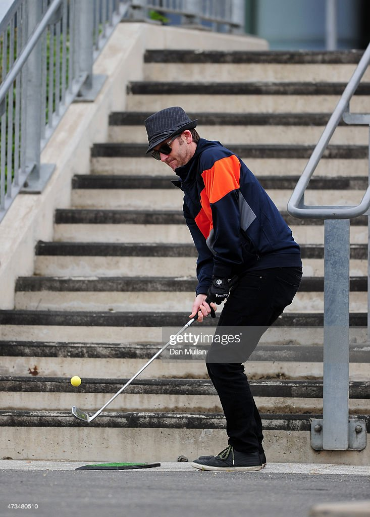 Rawden Pettitt of Shoreditch Golf Club hits his second shot on the 1st hole during the UK Cross Golf Open at Queen Elizabeth Olympic Park on May 15, 2015 in London, England.