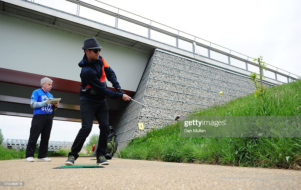 Rawden Pettitt of Shoreditch Golf Club hits his tee shot on the 4th hole during the UK Cross Golf Open at Queen Elizabeth Olympic Park on May 15, 2015 in London, England.