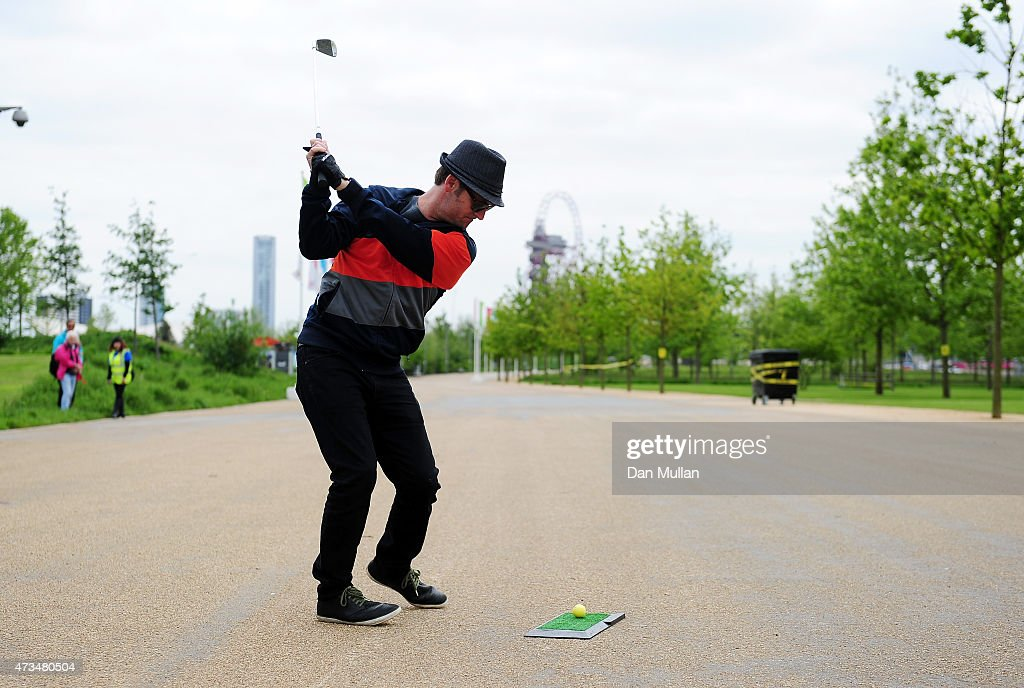 Rawden Pettitt of Shoreditch Golf Club hits his third shot on the 8th hole during the UK Cross Golf Open at Queen Elizabeth Olympic Park on May 15, 2015 in London, England.