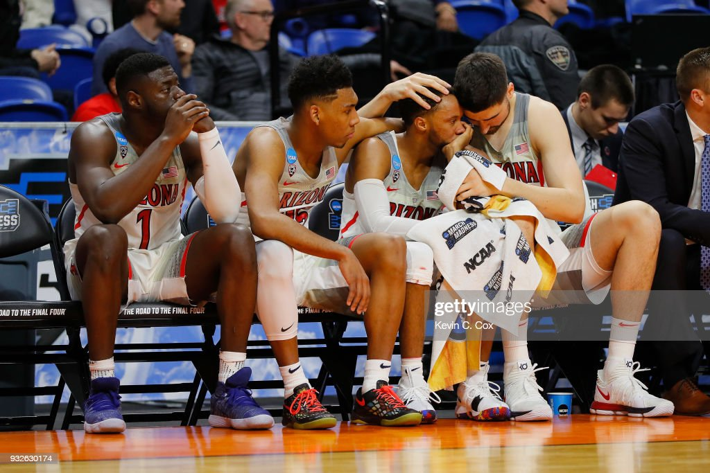 Rawle Alkins #1, Allonzo Trier #35, Parker Jackson-Cartwright #0, and Dusan Ristic #14 of the Arizona Wildcats react on the bench in the second half against the Buffalo Bulls during the first round of the 2018 NCAA Men's Basketball Tournament at Taco Bell Arena on March 15, 2018 in Boise, Idaho.