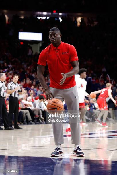 Rawle Alkins of the Arizona Wildcats on the court in street clothes before the second half of the college basketball game at McKale Center on January...
