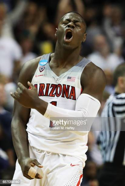 Rawle Alkins of the Arizona Wildcats reacts in the first half against the Xavier Musketeers during the 2017 NCAA Men's Basketball Tournament West...