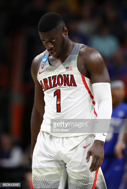 Rawle Alkins of the Arizona Wildcats reacts in the second half against the Buffalo Bulls during the first round of the 2018 NCAA Men's Basketball...