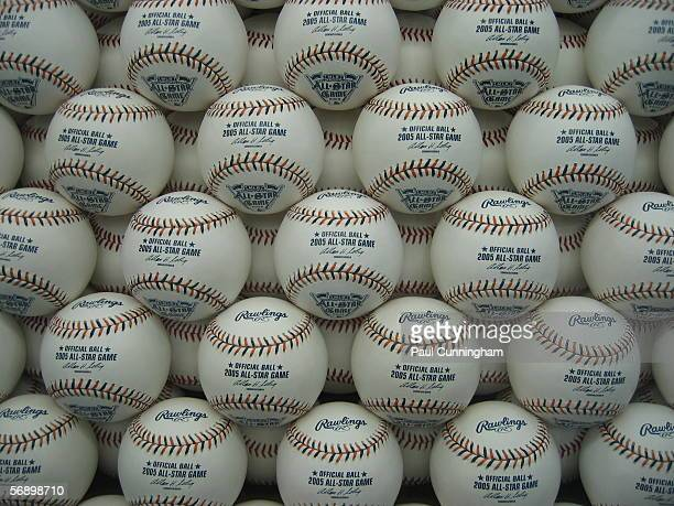 Rawlings display featuring 2005 All-Star Game baseballs at the John Hancock Major League Baseball All-Star Fan Fest at the COBO Center on July 9,...