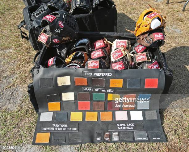 Rawlings sample kit for right handed pitchers is displayed on the back fields for the Houston Astros prior to the spring training game against the...