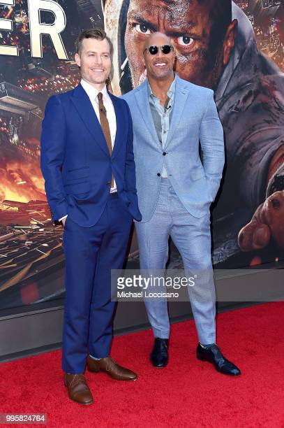 Rawson Marshall Thurber and Dwayne Johnson attend the 'Skyscraper' New York Premiere at AMC Loews Lincoln Square on July 10 2018 in New York City