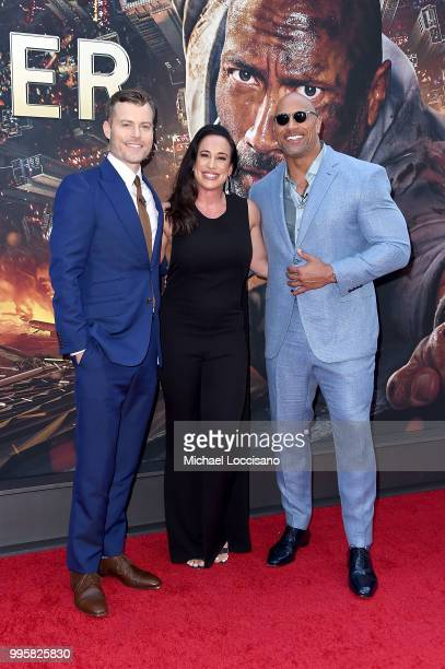 Rawson Marshall Thurber Dany Garcia and Dwayne Johnson attend the 'Skyscraper' New York Premiere at AMC Loews Lincoln Square on July 10 2018 in New...