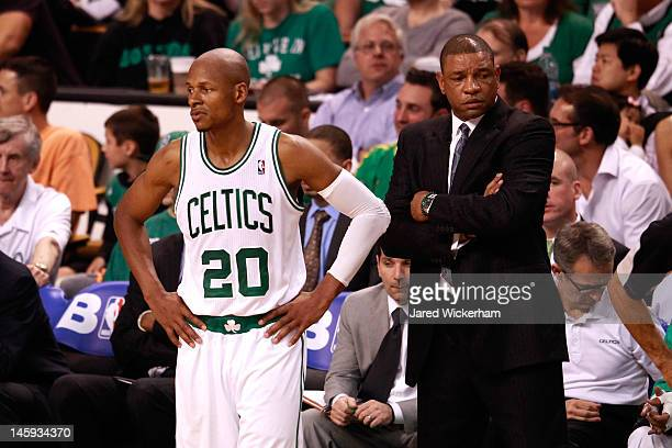 Ray Allen and Doc Rivers of the Boston Celtics look on dejected against the Miami Heat in Game Six of the Eastern Conference Finals in the 2012 NBA...