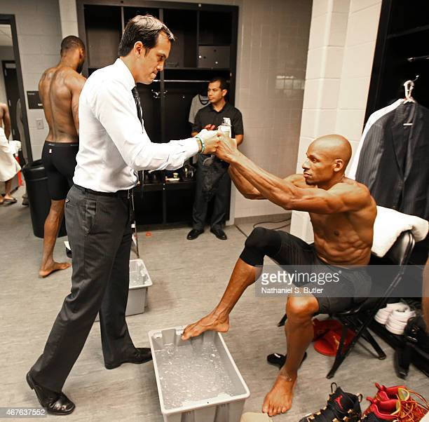 Ray Allen and Erik Spoelstra head coach of the Miami Heat get ready for Game Two of the 2014 NBA Finals at ATT Center on June 8 2014 in San Antonio...