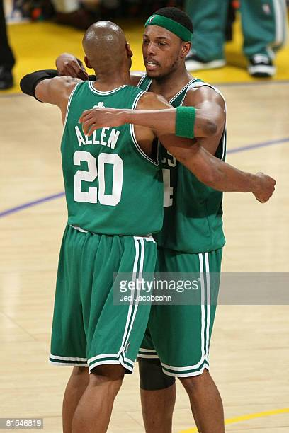 Ray Allen and Paul Pierce of the Boston Celtics celebrate in the final seconds before defeating the Los Angeles Lakers 9791 in Game Four of the 2008...