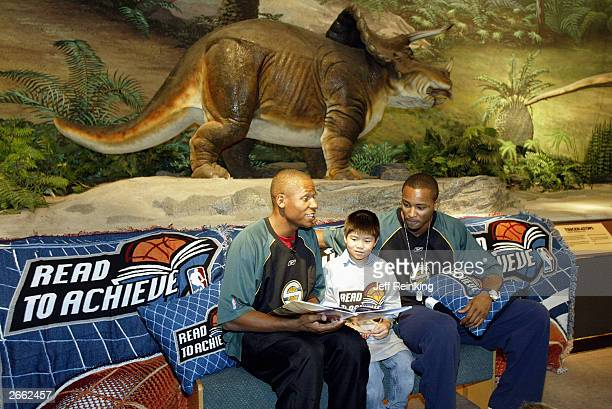Ray Allen and Rashard Lewis of the Seattle Sonics read to students during the Sonics Read to Achieve at the Pacific Science Center on October 21 2003...
