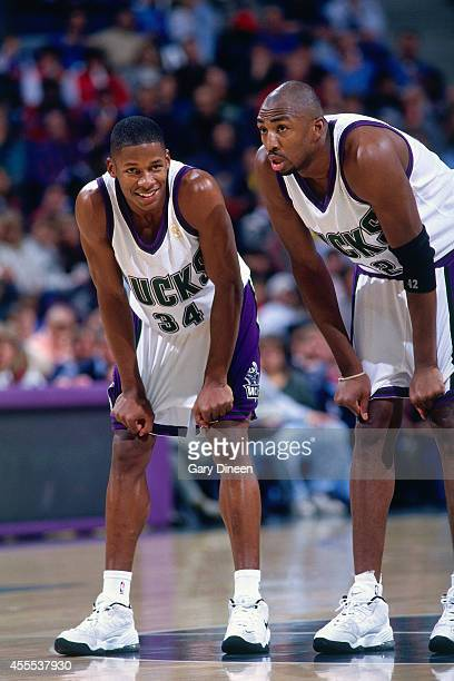 8e22860bb63e Ray Allen and Vin Baker of the Milwaukee Bucks on the court during a game in