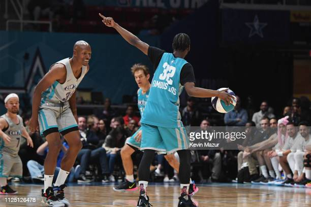 Ray Allen defends against Famous Los during the 2019 NBA AllStar Celebrity Game at Bojangles Coliseum on February 16 2019 in Charlotte North Carolina