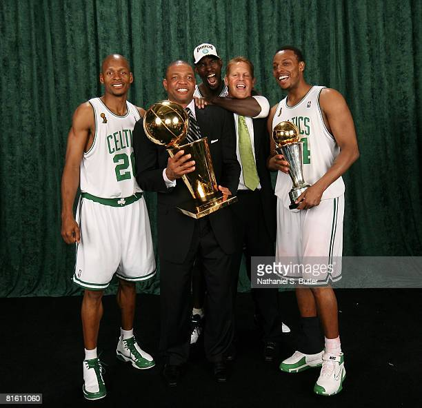 Ray Allen Head Coach Doc Rivers Kevin Garnett General Manager Danny Ainge and Paul Pierce of the Boston Celtics pose for a portrait with the Larry...