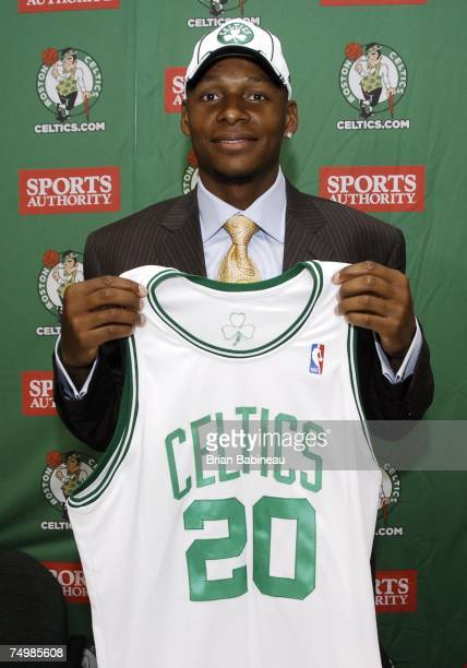 Ray Allen is introduced at the Boston Celtics Draft press conference July 2 2007 at the Celtics practice facility in Waltham Massachusetts NOTE TO...