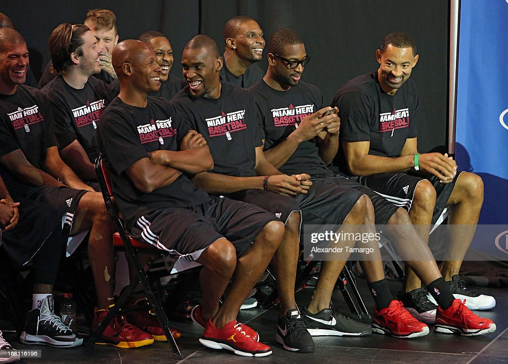 Ray Allen, Jarvis Varando, Dwyane Wade and Juwan Howard attend the LeBron James press confernece to announce his 4th NBA MVP Award at American Airlines Arena on May 5, 2013 in Miami, Florida.