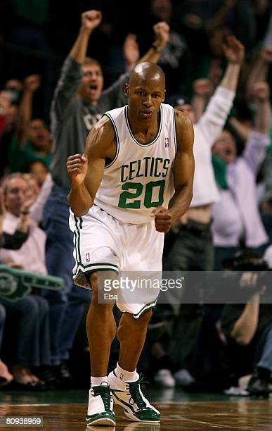 Ray Allen of the Boston Celtics celebrates his shot late in the second quarter against the Atlanta Hawks during Game Five of the Eastern Conference...