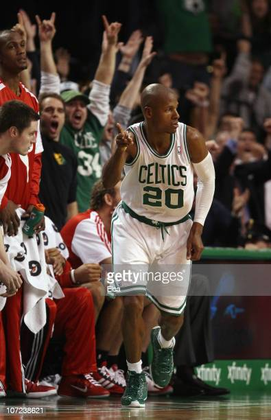 Ray Allen of the Boston Celtics celebrates his three point shot in the final seconds of the game the Portland Trailblazers on December 1 2010 at the...
