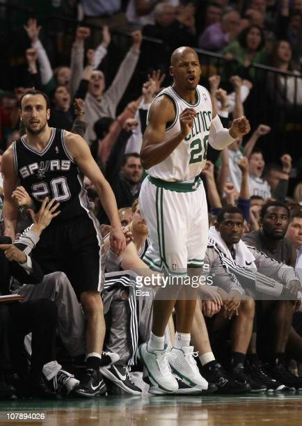Ray Allen of the Boston Celtics celebrates his three point shot in the fourth quarter as Manu Ginobili of the San Antonio Spurs stands by on January...