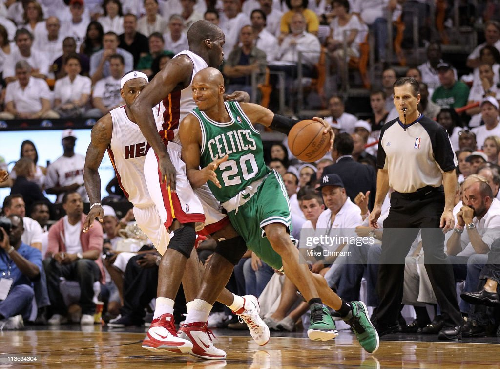 Ray Allen #20 of the Boston Celtics drive around Joel Anthony #50 of the Miami Heat during Game Two of the Eastern Conference Semifinals of the 2011 NBA Playoffs at American Airlines Arena on May 3, 2011 in Miami, Florida.