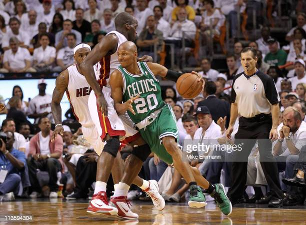 Ray Allen of the Boston Celtics drive around Joel Anthony of the Miami Heat during Game Two of the Eastern Conference Semifinals of the 2011 NBA...