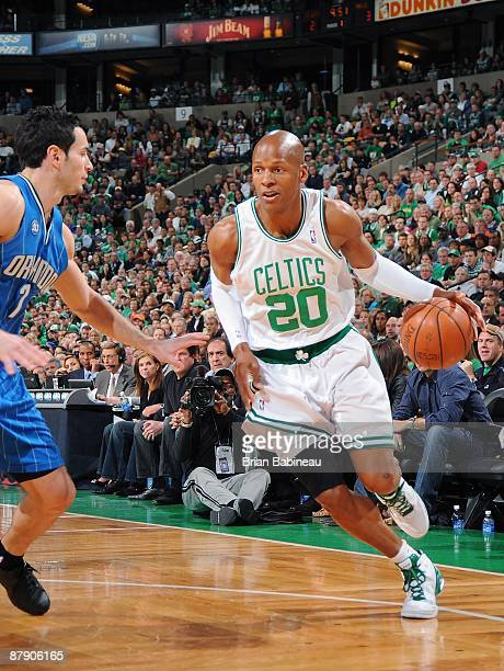 Ray Allen of the Boston Celtics drives against JJ Redick of the Orlando Magic in Game Seven of the Eastern Conference Semifinals during the 2009 NBA...