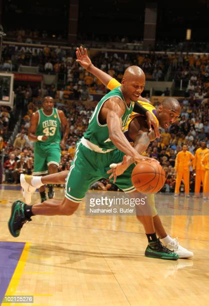 Ray Allen of the Boston Celtics drives against Kobe Bryant of the Los Angeles Lakers in Game Six of the 2010 NBA Finals on June 15 2010 at Staples...